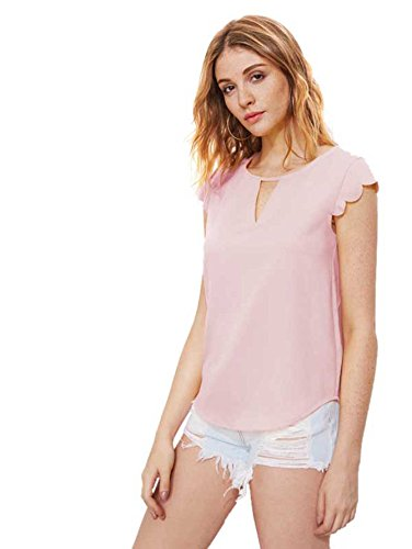 MAKEMECHIC Women's Casual Plain Scallop Cutout Cap Sleeve Blouse Top Pink S