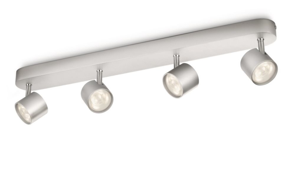 Philips myliving star 4 bar spotlight ceiling light integrated 4 philips myliving star 4 bar spotlight ceiling light integrated 4 x 3 w led bulb aluminium amazon lighting mozeypictures Images