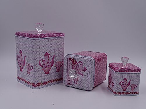 Beautiful Pink & White Set Of 3 Cookie Storage Tins, Shabby Chic, With Floral Design and Crystal Knobs ...