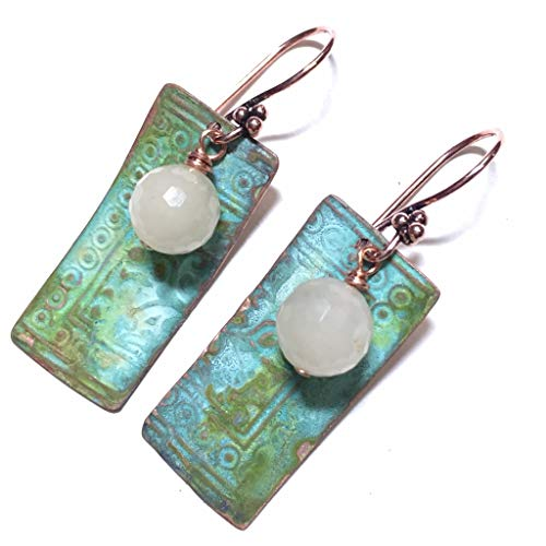 Turquoise Rectangle Beads African (Athena Boho Blue Rust and Green Patina Drop Earrings Ivory Beads in Copper Jewelry GIft Idea for Women)