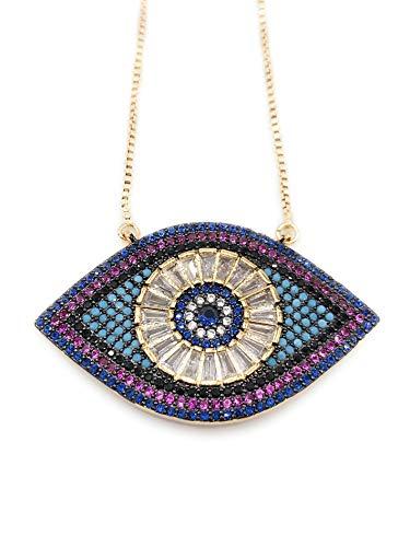 LESLIE BOULES Evil Eye Necklace for Women 18K Gold Plated Sliding Chain