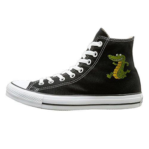 Crocodile High Top - Shenigon Cartoon Crocodile Canvas Shoes High Top Casual Black Sneakers Unisex Style 41