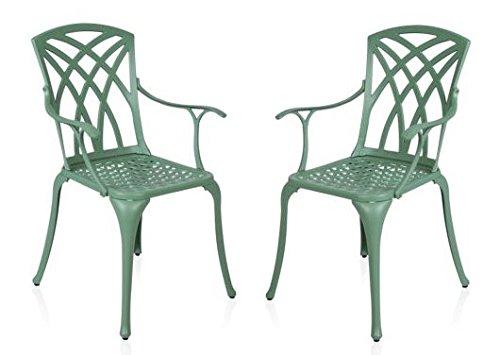 Conjunto de 2 sillones de jardín de aluminio fundido de ...