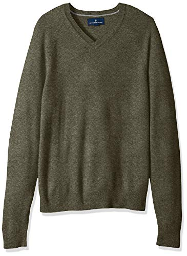 100% Premium Cashmere V-Neck Sweater, Olive, X-Large ()