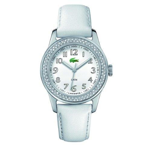 - Lacoste Advantage White Dial White Leather Ladies Watch 2000464