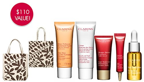 Clarins Travel Tote & Gift Set - Hand & Nail Cream, One Step Gentle Exfoliating Cleanser, Blue Orchid Face Oil, Super Restorative Total Eye, Super Restorative Replenishing Comfort Mask & Large Tote