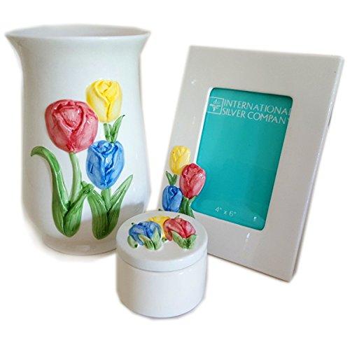 - International Silver Company S/3 Dolomite Tulip Design Set - Frame Covered Box & Vase - No. 11114711