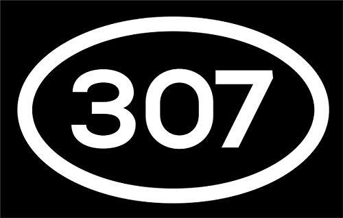 DHDM 307 Area Code Sticker Wyoming Cheyenne Casper Gillette City Pride Love | 5-Inches by 3-Inches | Premium Quality White Vinyl | ND783