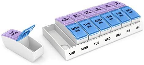 Ezy Dose Weekly AM/PM Travel Pill Organizer and Planner  │ Removable AM/PM Compartments │ Great for Travel (Large)
