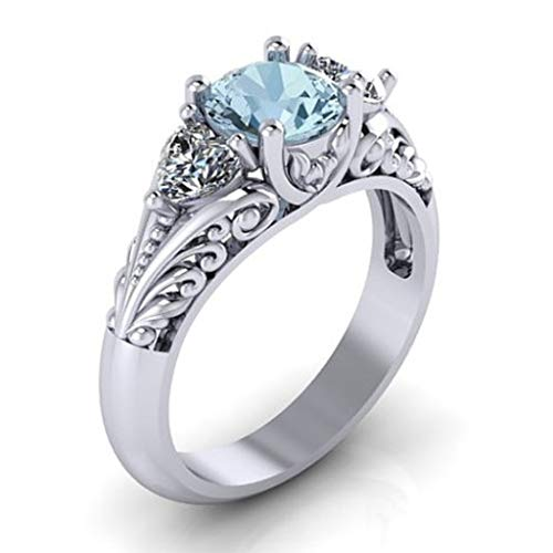 Naomi Antique Style 925 Sterling Silver Round Cut 2.00CT Aquamarine Floral Engagement Promise Solitaire Ring Multi-Color 11
