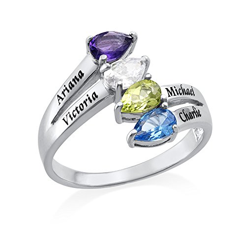 Four Stone Mothers Ring in Sterling Silver - Personalized & Custom Made