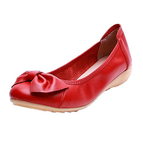 Rosso Tacco Puro Basso AllhqFashion Ballet Tonda Donna FBUIDC011039 Flats Tirare Punta IwqpvEa