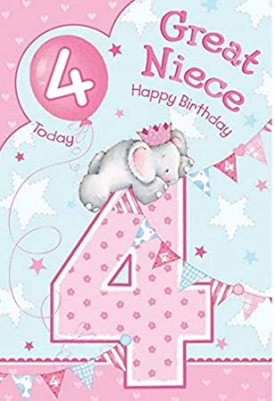 Great Niece 4th 4 Today Happy Birthday Card With A Lovely Verse