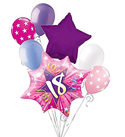 7 Pc Happy 18th Birthday Pink Star Burst Balloon Bouquet Party Decoration