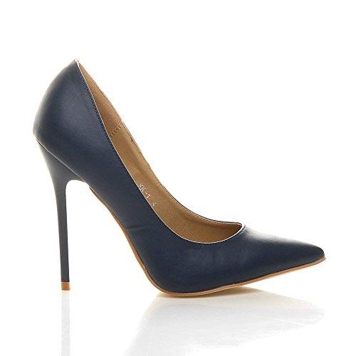 Chaussures Bleu Mat Pointue De Taille Élégante Talon Haut Fête Femmes Marine Escarpins Travail pqvR0w