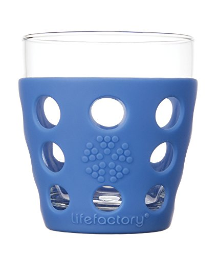 Lifefactory 10-Ounce BPA-Free Indoor/Outdoor Glassware with Protective Silicone Sleeve, 2-Pack, Cobalt