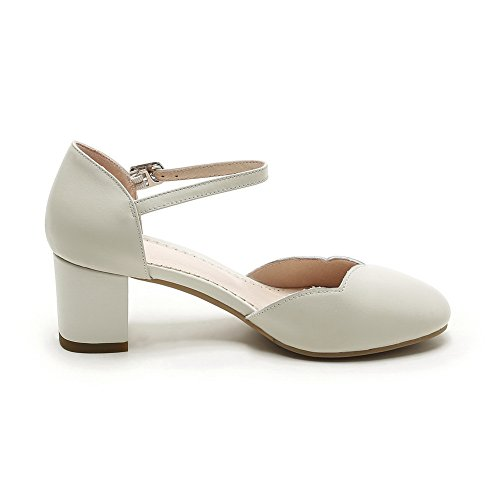 Womens Urethane Buckles Toe Chunky BalaMasa Beige Shoes Pumps Heels ASL04268 Round Metal W0qBdRwRI