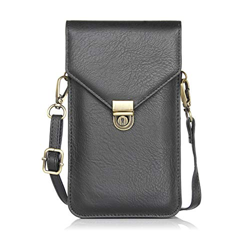Small Women Cellphone Purse Wallet Crossbody Shoulder Bag with 2 Pouches Card Pocket For Travel Work Shopping (Black)