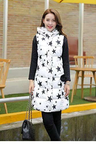 Sleeveless Outwear Huixin Parka Vest Printed Long Casual Retro Ladies Down Side Vest White with Pockets Zipper Stars Warm Winter qwqpYT