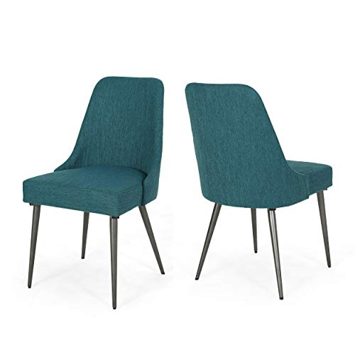 Christopher Knight Home Dawn Modern Fabric Dining Chairs Set of 2 , Teal