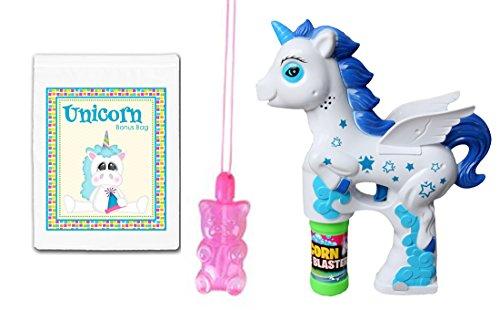 White & Blue Unicorn Light & Sound Toy Bubble Blaster Gun & Gummy Bear Bubbles Necklace Bundle Pack ()