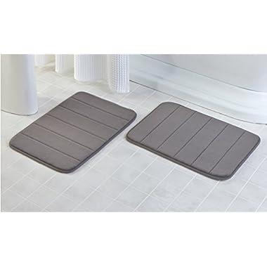 2 Pack - 17 x 24  Microfiber Memory Foam Bath Mat with Anti-Skid Bottom (Storm Grey)