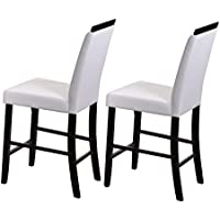 Kings Brand Furniture Counter Parsons Dining Chairs (Set of 2), White, 24