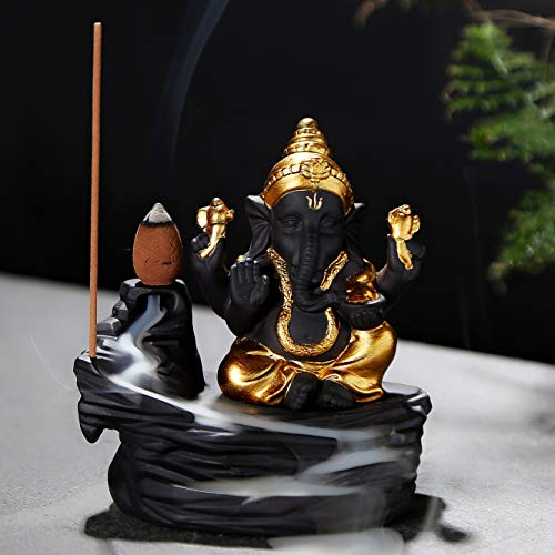 - OWMMIZ Ganesha Backflow Incense Burner Waterfall Incense Holders Home Decor Decorations Statue Ornaments Handmade Gift Figurine and 10 Incense Cones
