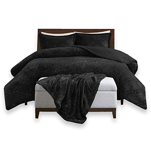 Comfort Spaces CS40-0639 Odessa Set + Long Fur Throw Combo-4 Piece-Black-Snugly Warm and Ultra Soft-King Size, Includes 1 Comforter, 2 - Avenue Collection Park Luxury