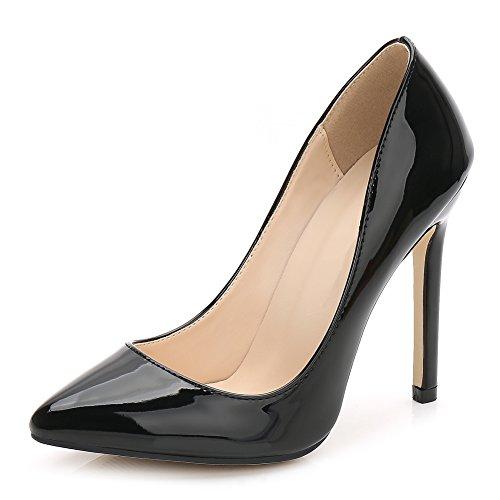 fereshte Women's Pointy Toe Slip On Stilettos High Heels Wedding Shoes Dress Pumps Black US 11