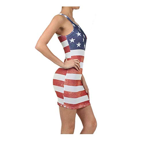 LEEDFORD Women Casual Summer Patriotic Dresses, American Flag Crew Neck Sleeveless Ladies 4th of July Tank Bodycon Dress Red ()