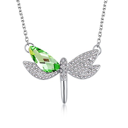 The Starry Night Green Austrian Crystal Flying Dragonfly Pendant Diamond Accented Silver Lady Necklace
