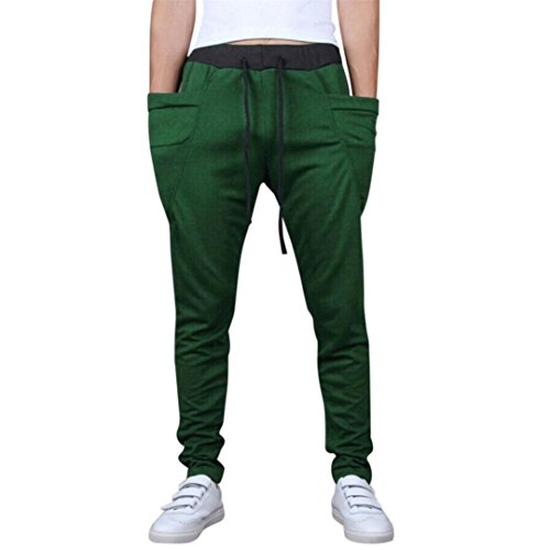 Realdo Mens Casual Trousers, Daily Solid Elastic Waist with Pocket Pencil Pants(Green,XX-Large)