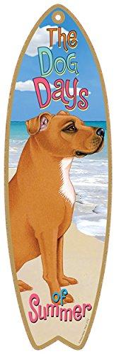 (SJT21753) Pitbull (Tan color) dog surfboard plaque sign - measures 5
