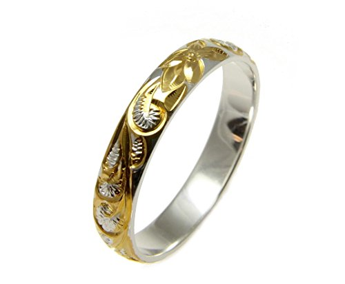 Yellow gold plated sterling silver 925 Hawaiian plumeria scroll 4mm band ring size 12 (Silver Plated Ring Gold)