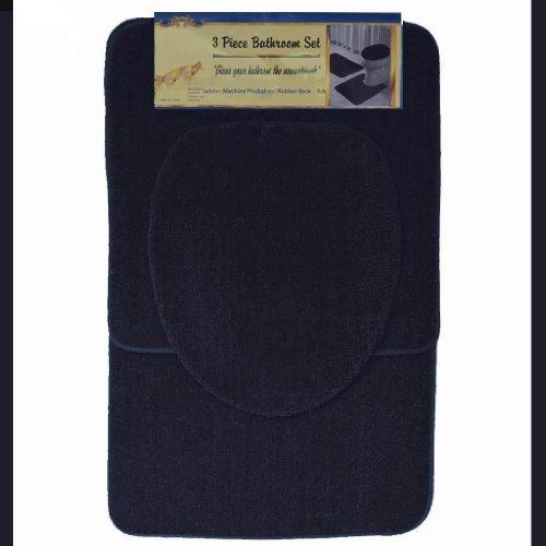 BLACK 3-Piece Bathroom Set: 1-Bath Mat/Rug, 1-Contour Mat/Rug, 1-Toilet Seat Lid Cover-Standard Round (Lid Toilet Standard Seat Cover)