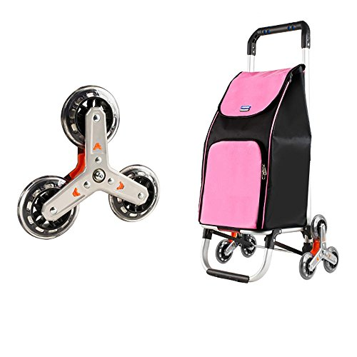 HCC& Trolley Dolly Stair Climbing Rolling Aluminum Alloy Multi-purpose Shopping Grocery Foldable Cart , Pink by C&H