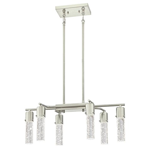 Westinghouse 6329800 Cava Six LED Indoor Chandelier, Brushed Nickel Finish with Bubble Glass, 6 Light Westinghouse Nickel Chandelier