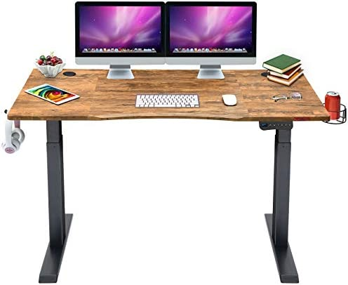 "Mr IRONSTONE Electric Height Adjustable Desk 53.5"" Standing Desk Sit to Stand Home Office Computer Desk with Splice Board, Cup Holder, Headphone Hook and Cable Management (Vintage)"