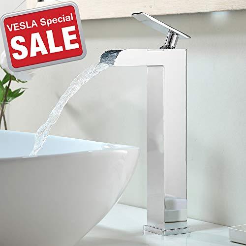 - VESLA HOME Single Handle Hole Waterfall Commercial Chrome Finish Bathroom Vanity Sink Faucet, Lavatory Bathroom Sink Faucet