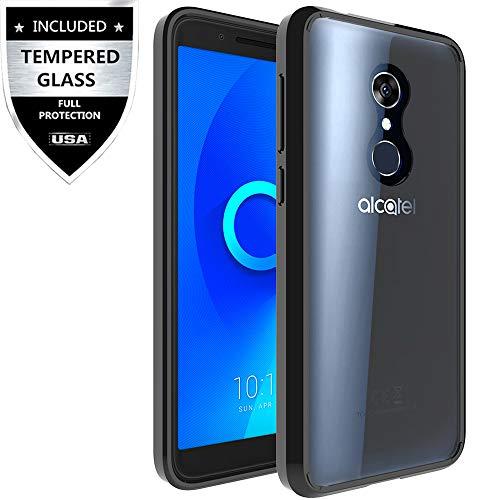 T-Mobile Revvl 2 Case with Tempered Glass Screen Protector,IDEA LINE Premium Ultra Edge Sturdy Shockproof Bumper Transparent - Black