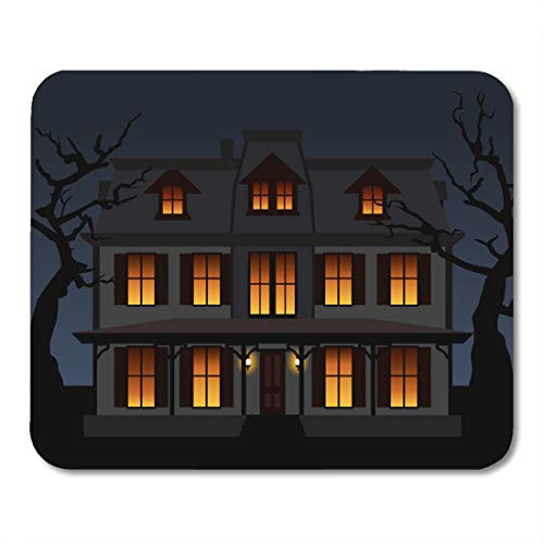 Nakamela Mouse Pads Gray Branch Black Window Haunted