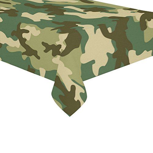 InterestPrint Home Decoration Military and Hunting Camouflage Tablecloth Set 60 X 104 Inches - Green Camo Tablecover Desk Table Cloth Cover for Wedding Party Decor