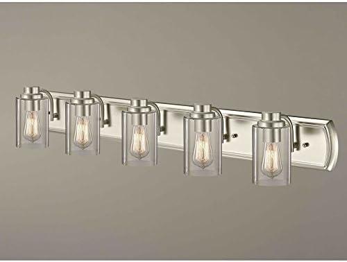 Industrial 5-Light Bathroom Light in Satin Nickel