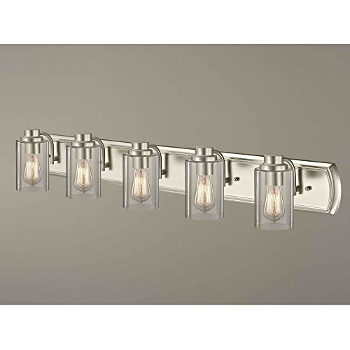 Industrial 5-Light Bathroom Light in Satin Nickel