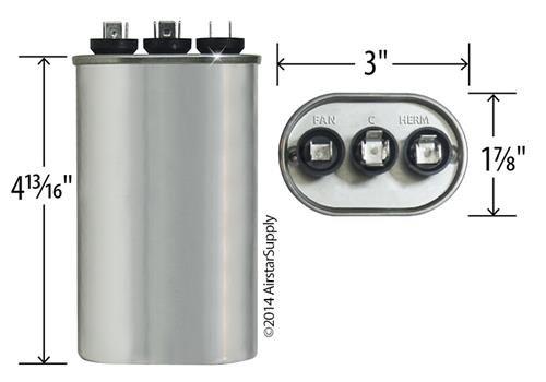 97F9843 5 uF MFD x 440 VAC Genteq Replacement Dual Capacitor Oval # C4405L Jard 12986-40