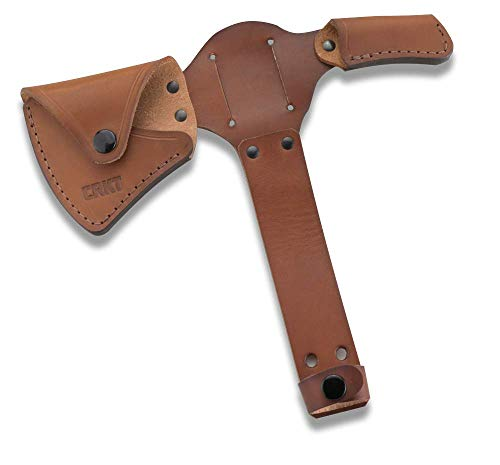 Columbia River Knife & Tool CRKT Woods Kangee Tomahawk Sheath: Full Grained Leather, Multiple Snaps, Belt Loops for Secure Carry of T-Hawk D2735