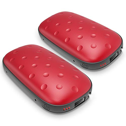 UTOPER Electric Hand Warmers [2 Pack] 5200mAh Rechargeable USB Pocket Hand Warmer Heater Double-Side Heating Portable Phone Battery Charger Power Bank Winter Gift for Lover Parents Kids (Red 2Pack)