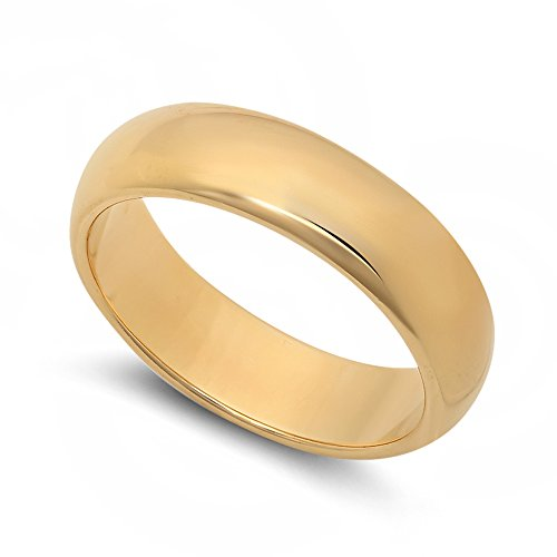 5.5mm 14k Yellow Gold Heavy Plated Smooth Domed Wedding Band Ring, Size 11