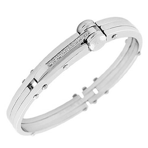My Daily Styles Stainless Steel Silver-Tone Men's Handcuff Bracelet
